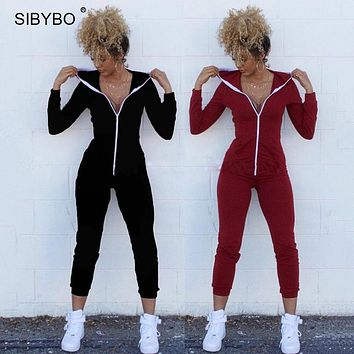 Sibybo Women Winter Jumpsuits 2018 Long Sleeve Hooded Outfits  zipper Cotton Sexy Club Wear Bandage Bodycon jumpsuit