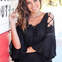 Black Top with Lace Up Bell Sleeves