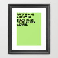 Writer's Block. Framed Art Print by Andrea Chan
