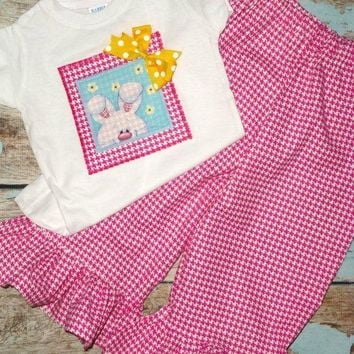 Girls Easter Outfit, Baby Girls Easter Outfit, Ruffled Pants and Top Set, Newborns to size 8