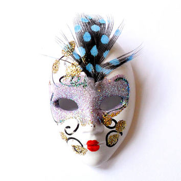 Vintage Venetian Mask Brooch Theatrical Glitter Sparkle Feather 1980s 80s Style Painted Acrylic Mask Broach Pin