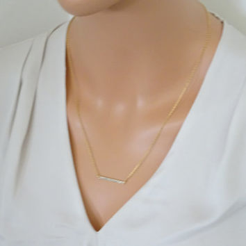 Ultimate Gold Bar Necklace, God filled Hammered Bar,  Gold Bar on 14k gold fill chain, Layering Necklace, Minimalist Necklace HNS10