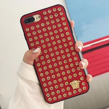 Versace Fashionable Women Men Personality Rivets Mobile Phone Cover Case For iphone 6 6s 6plus 6s-plus 7 7plus 8 8plus X Red