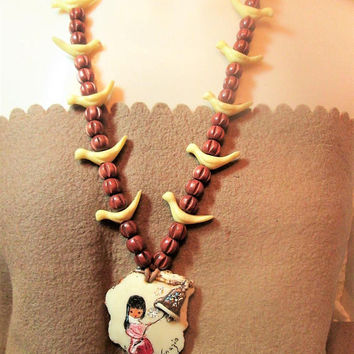 DeGrazia Fetish Necklace Bell of Hope Pendant Southwestern Artist Vintage Jewelry Gift