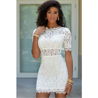 Lace Round-neck Chiffon Print Short Sleeve Hollow Out Backless White One Piece Dress = 4804133700