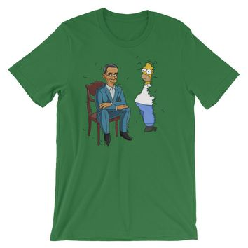 Obama Presidential Portrait Homer in the Bushes Parody T-Shirt