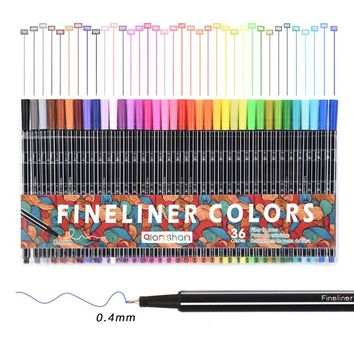0.4 mm 36Colors Fineliner Marker Pens Drawing Sketch Finecolour Art Liner Pen Water Based Assorted Ink School Stationery