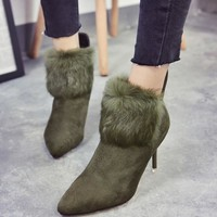 Ankle High Pointed Toe Buckle Strap Think High Heels Women's Fashion Winter Boots