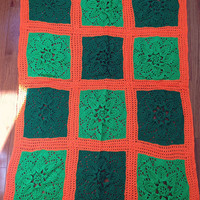 Vintage 70s Orange Green Hand Crocheted Afghan Irish Celtic