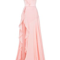Phoebe Satin Crepe Ruffle Gown