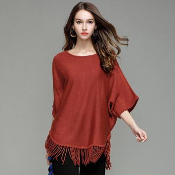 Autumn Round Neck Bating Sleeve Tassel Pullover Knitwear Fashion Plus Size Women Clothing Solid Color Sweater Jumper