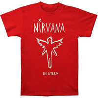 Nirvana Men's  Chalk Outline In Utero Slim Fit T-shirt Cardinal