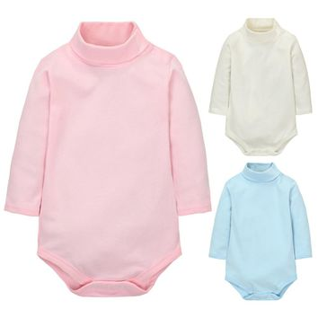 Hot 2017 Autumn Newborn Baby Rompers Long Sleeve Infant Jumpsuit Paramas High Neck Cotton Kids Clothes Costume 6 Color