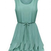 Alice In Wonderland Whimsical Petals Green Chiffon Dress. Summer Dress