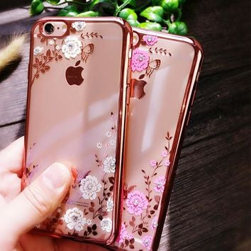 For iPhone 6S 5S SE 6 Plus 7 8Plus Capinha Para Chic Flower Flora Bling Diamond Rhinestone Clear Soft TPU Case For iPhone X Case