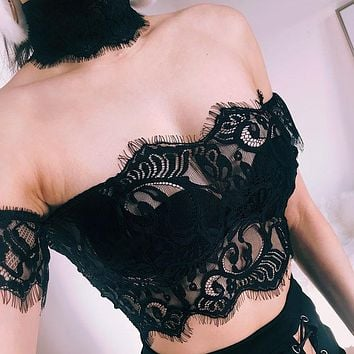 Women Fashion Backless Hollow Off Shoulder Short Sleeve Lace T-shirt Crop Tops
