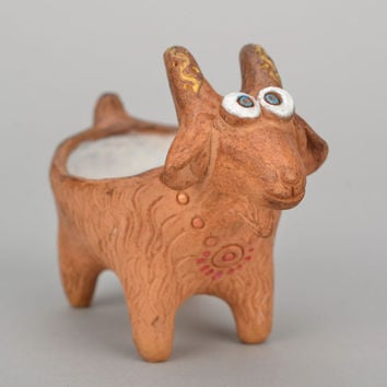 Homemade clay salt pot Goat handmade eco friendly kitchenware for serving