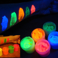 5 x 0.25 oz Fluorescent UV black light glow body face paint set (blue, yellow, orange, green, red)