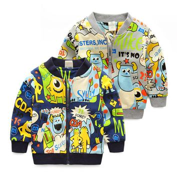 New Arrival Boys Jackets Long Sleeve Kids Boys Cartoon Printed Winter Clothes High Quality Outerwear Baseball Jacket Cool Coat