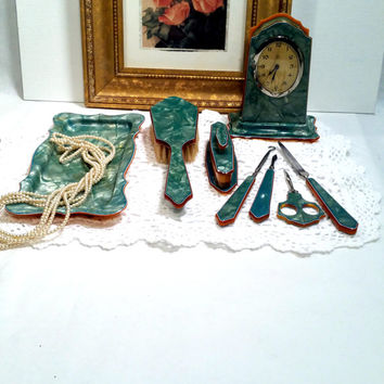 Shabby Chic Vanity Set Art Deco Green Celluloid Vanity Set 8pc Dresser Set Manicure Set Clock Brush Vintage Dresser Set from 1920s - 1930s