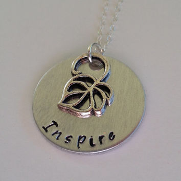 "Hand Stamped Aluminum ""Inspire"" Necklace with Leaf Charm / ""Inspire"" Pendant with Leaf Charm / Custom Necklace / Other charms available"
