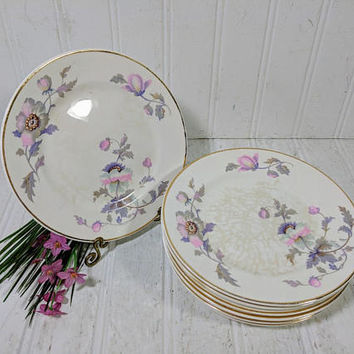 Bread and Butter Plates Set of 7 National Ivory Dinnerware Pink & Purple Poppies Pattern Shabby Chic Dessert Plates Set 6 Inch China Plates