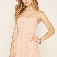 Strapless Crisscross Lace Dress