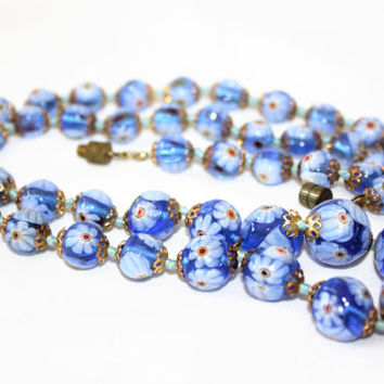 Vintage Italy Necklace, Millefiori Art Glass Bead Necklace, Blue Millefiori Bead, 1940 Jewelry