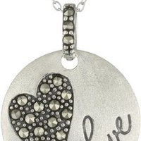 "Sterling Silver Marcasite Heart ""Love"" Round Pendant Necklace, 18"""