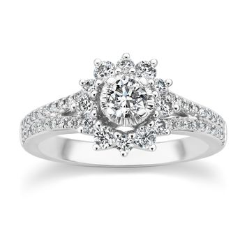 JewelMore Halo Diamond Engagement Rings ( 1.00 cttw G-H-I / I1-I2 ) 14K White Gold