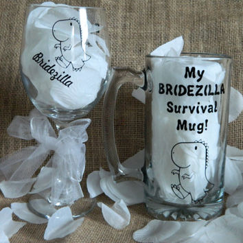 Bridezilla Large 20oz Wine Glass and Survival Beer Mug! Best Bride and Groom gift! Wedding planning wine glass! Custom weddings