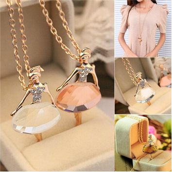 New Ladies Girls Cute Ballet Girl Pendant Chic Choker Bib Crystal Chain Necklace Charm Lovely Jewelry Party