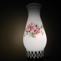 Milk Glass Lamp with Floral Lampshade