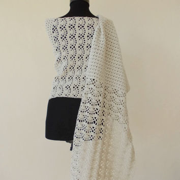Lace crochet shawl stole, ivory wedding shawl, crochet shawl, wrap shawl, crochet wraps, hand crochet shawl, long scarf, crochet shawlette