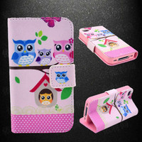 Owl Leather Phone Wallet Case