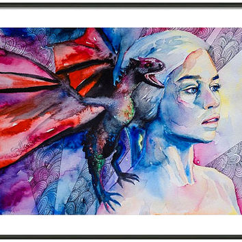 "Daenerys Targaryen - game of thrones watercolor painting print 11""x16"" print Celebrity Portraits, Carmine red, Cerulean, red dragon"