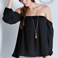 Chiffon off the shoulder top, 3/4 Sleeve, Black