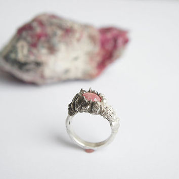 ACLLA Ring - ROSA INCA Collection - Sterling Silver and Rhodochrosite, one of a kind, love story, mountain, organic, oxidized