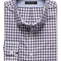 Banana Republic Mens Classic Fit Non Iron Multi Gingham Shirt