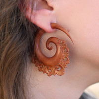 Fake Gauges  Oracle Spirals  Tan Sabo Wood Earrings by TribalStyle