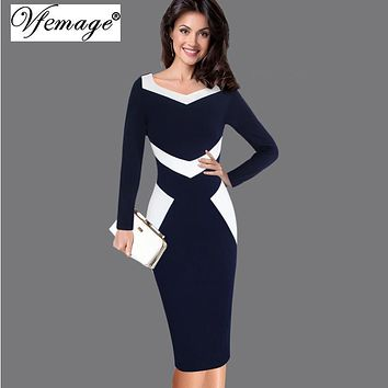Vfemage Womens Elegant Optical Illusion Patchwork Contrast 2017 Slim Casual Work Office Business Party Bodycon Pencil Dress 6801