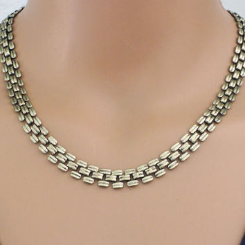 Vintage Necklace - Bib Necklace - Brass Jewelry - Chloe's Vintage Jewelry