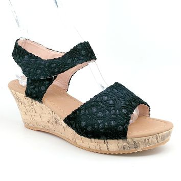 Women's Black Hook and Loop Strap Wedge with Glitter