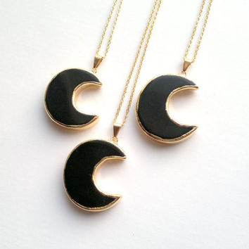Black Moon Necklace Black Obsidian Necklace Obsidian Moon Pendant Gold Black Crescent Necklace Half Moon Jewelry Balck Stone Necklace Mystic