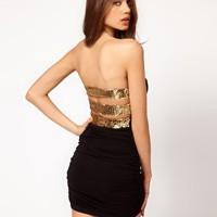 ASOS Strapless Dress With Sequin Back Straps at asos.com