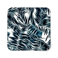 Energetic abstract palm leafs pattern square sticker