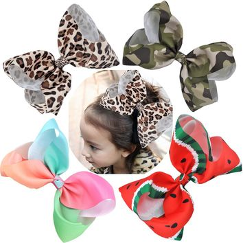 8 Inch Big Large  Hair Bows Leopard Print Rainbow Grosgrain Ribbon Hairpins Childrens Girls Hair Accessories Alligator Clips