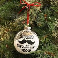 Staching Through the Snow - Mustache Christmas Ornament