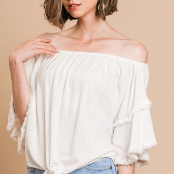 Women's Layered Ruffle Sleeve Off Shoulder Top with Front Tie