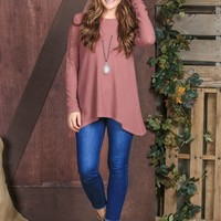 Logan's Waffle-knit Long Sleeve with Lace Accent in Mauve